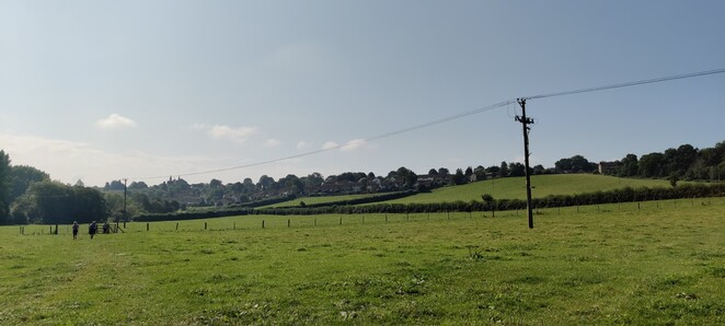 Looking back over the Community field and town