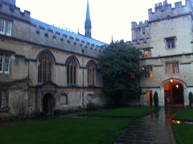 front, quad, jesus, college, oxford