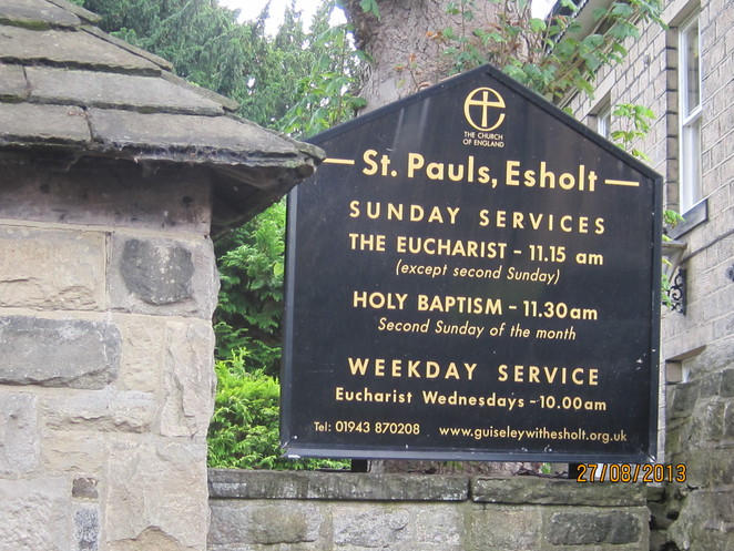 plaque at St Paul's Esholt