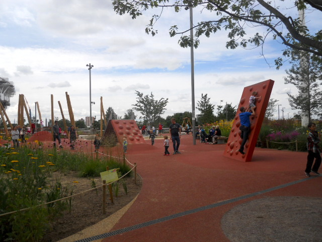 queen elizabeth olympic park, alfred's meadow, outdoor rooms, pleasure gardens, climbing wall, playground