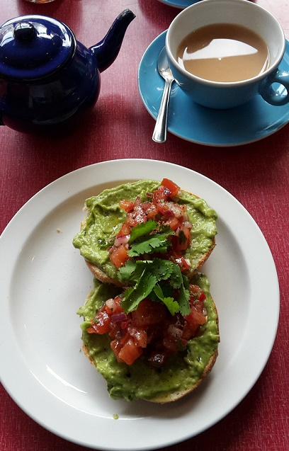 jalapeno bagel breakfast brunch smashed avocado, salsa, lime, coriander