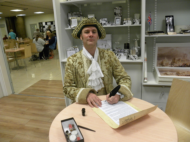Lichfield Heritage Weekend, quill writing, Hector Beane
