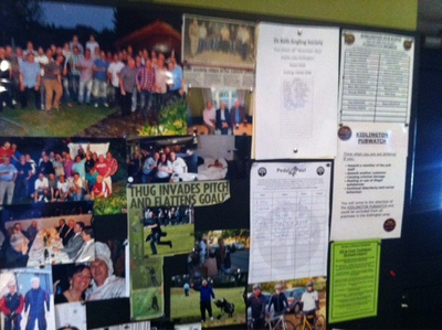 Pub noticeboard, Six Bells, Kidlington, food, family, sport