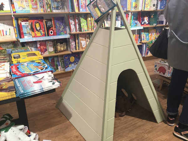 Waterstones, wimbledon, tee-pee, children
