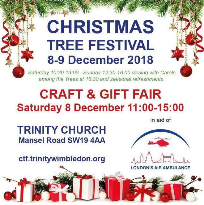 2018 christmas craft and gift fair, community event, fun things to do, trinity united reformed church, mansel rd london, festive season, christmas event, christmas trees, london's air ambulance, handmade gifts, refreshments, light lunches, charity, fundraiser