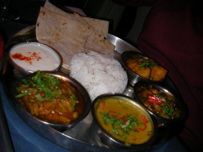 chutneys, indian restaurant, vegetable thali