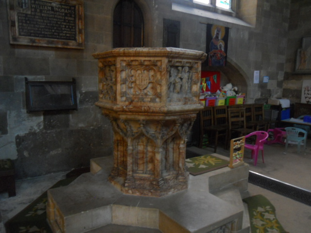 Croydon Minster, church, font, children's toys, babtism