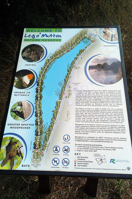 Information sign at Leg O' Mutton Nature Reserve