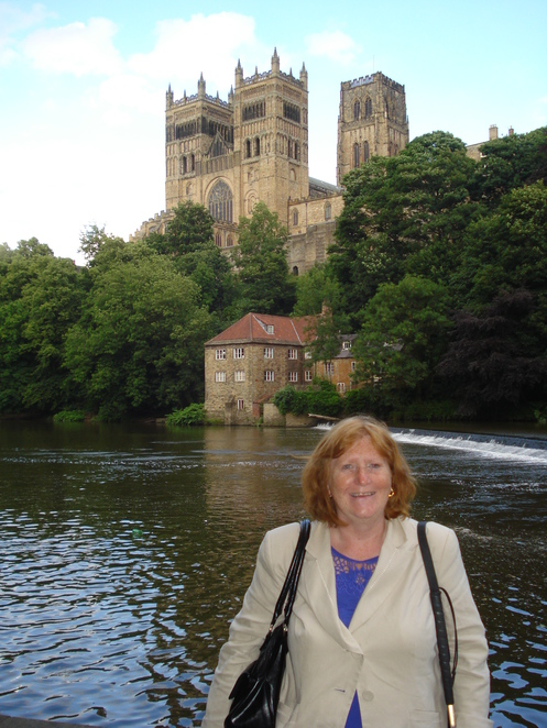 Margaret on riverside near Durham Cathedral