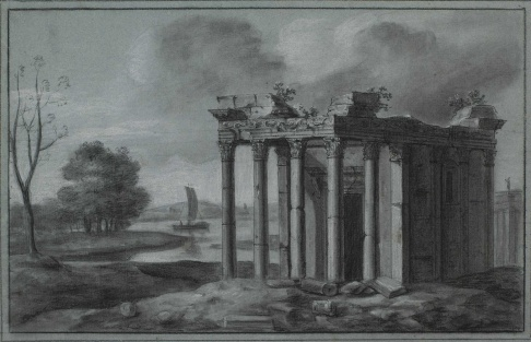 a ruined Corinthian temple in a landscape, c.1758–60, royal paintbox, george III, royal art collection