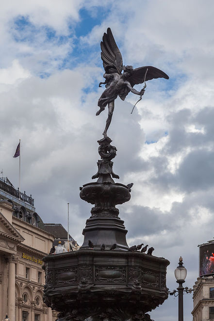 eros, shaftesbury memorial fountain, piccadilly circus