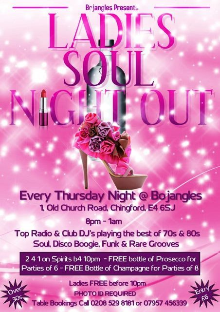 BOJANGLES, LADIES NIGHT, SOUL, FUNK, DISCO, CLUB