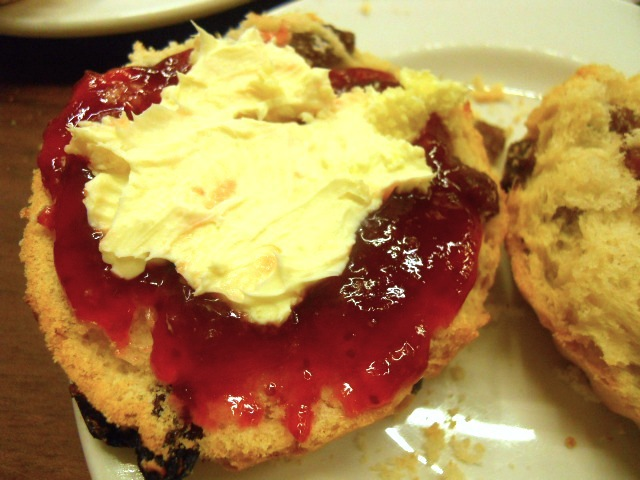 marks & spencer, m&s cafe, afternoon tea, fruit scone, jam, cream