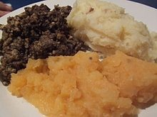 Haggis Garnished with Neeps and Tatties