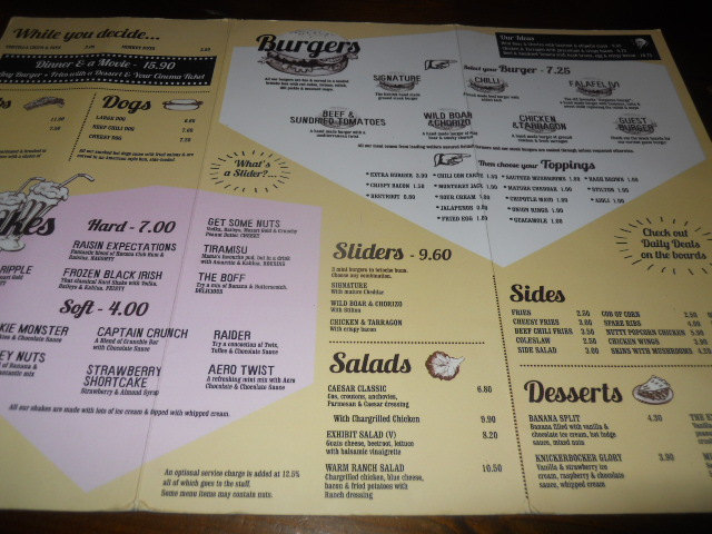 the exhibit, balham, diner, menu