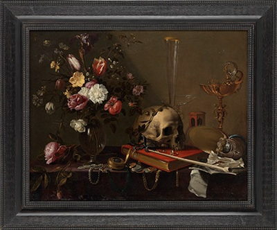 Vanitas: Still Life of a Bouquet and a Skull