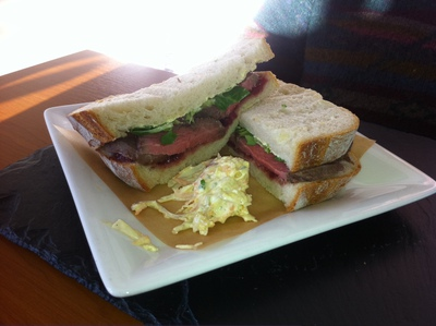 white bloomer, roast beef, sandwich, bridgeview station restaurant, lunch, dundee, River Tay, tay bridge, river view