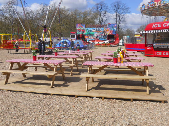 clapham common, theme park, fun fair, tables