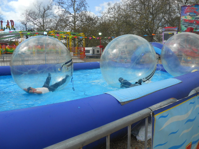 clapham common, theme park, fun fair, water balls