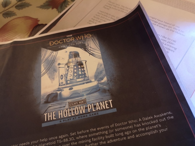 Doctor Who Hollow Planet, Escape Hunt, play at home game, review, Alison Brinkworth photo