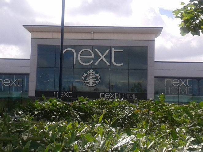 Next, Starbucks, wifi, retail park