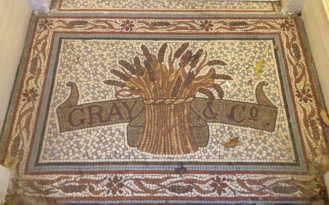 Mosaic tiles, sheaf of wheat, bakers