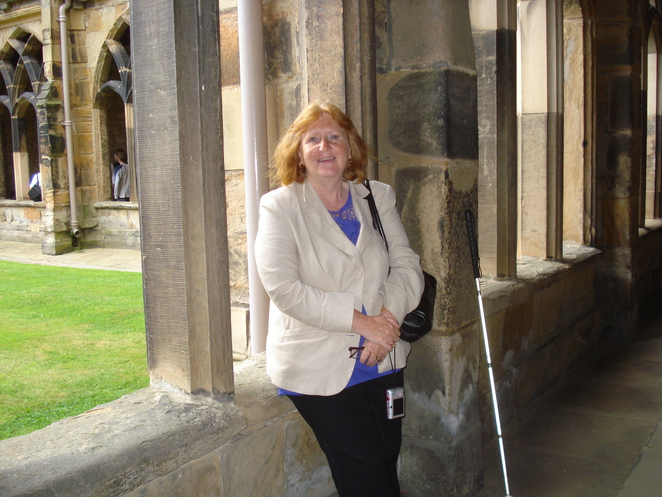 Margaret in the Cloisters at Durham Cathedral