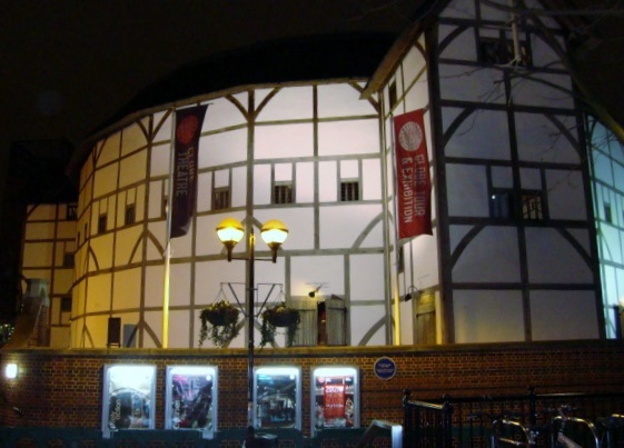 Outside Shakespeare's Globe by Night
