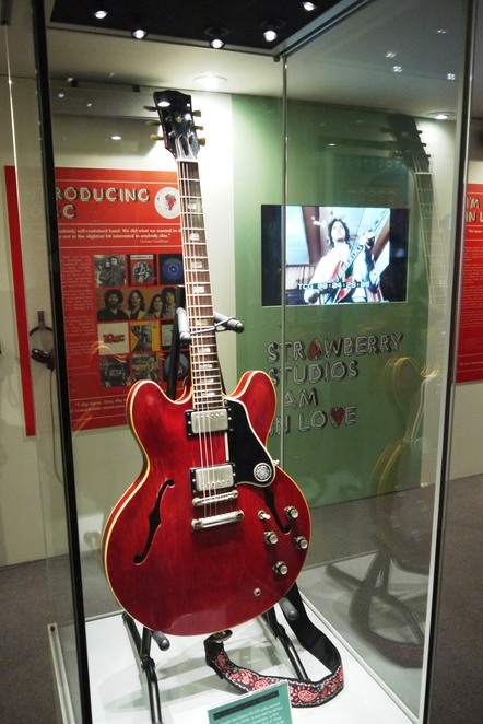 10cc, Strawberry Studios, Stockport Museum, ES-335 Red Gibson guitar, Eric Stewart.