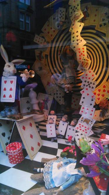 fenwicks alice in wonderland display
