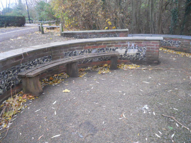 colliers wood, pickle ditch, river wandle, bench