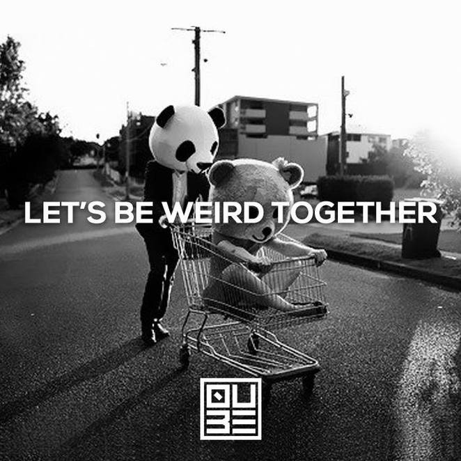 the qube project, panda, bear, shopping trolley, let's be weird together