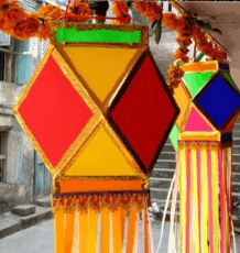 Diwali celebrated with diyas or kandils - colourful paper lanterns