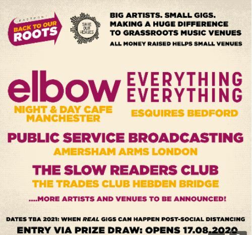 Passport Back To Our Roots, Elbow, Everything Everything, Public Service Broadcasting, Slow Readers Club, Night & Day, Amersham Arms, Hebden Bridge Trades Club, Esquires