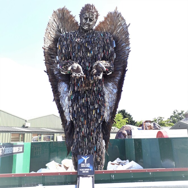 Shrewsbury Shropshire Knife Angel Artists knife crime Ironworks sculpture