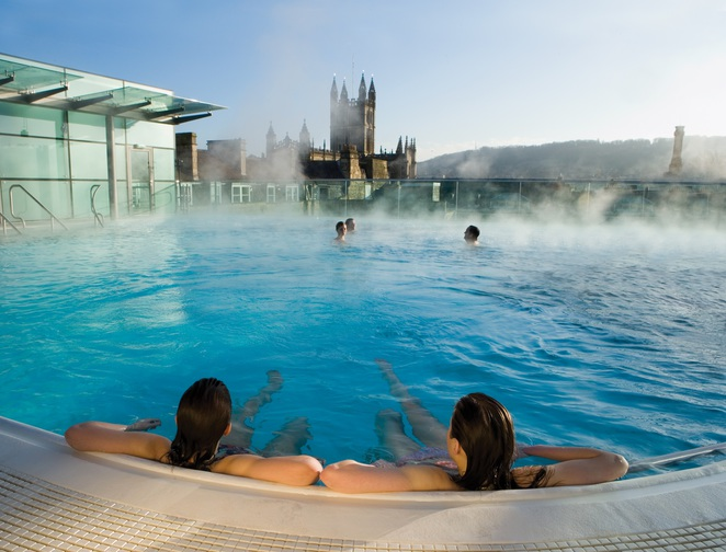 thermae bath spa body wrap relaxation luxury rooftop view