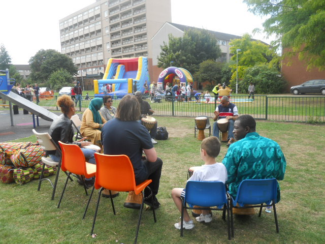 international summer fair, rock terrace recreation ground, south mitcham community centre, african drumming