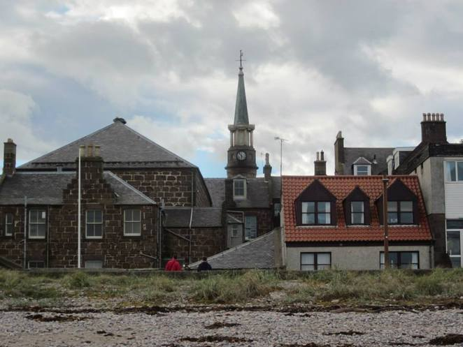 Looking at the township from the beach in Stonehaven.