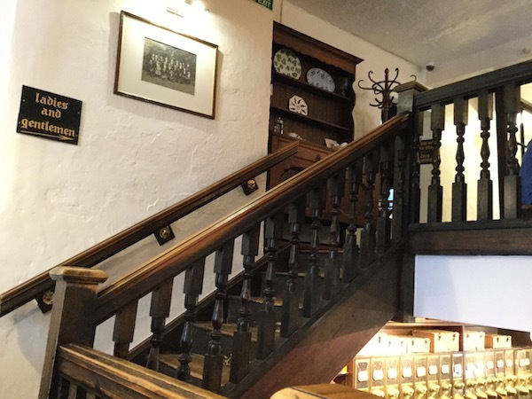 farer's tea and coffee merchants, kendal, tea house, dog bowl, stairs, staircase