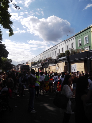 Nottinghill during Carnival is hectic, totally transformed for the weekend