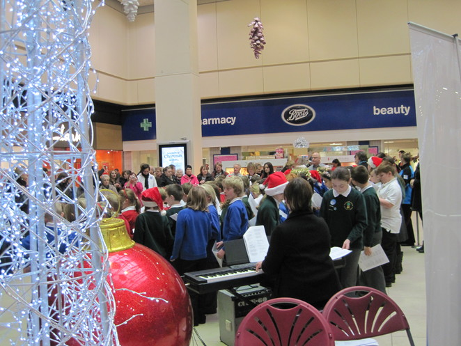 Local primary school children singing in Eldon Square 2012