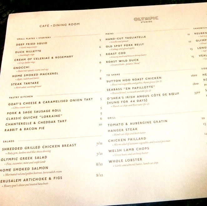 Olympic Cafe and Dining Room Menu