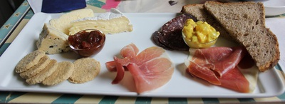 meat, cheese, bread, ploughman's
