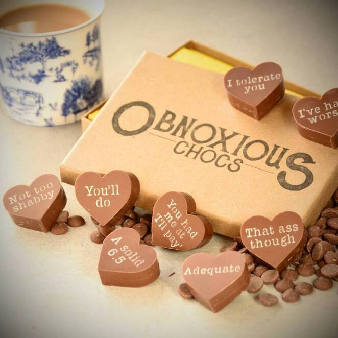 obnoxious chocolates, funky hamper company, valentines day gifts