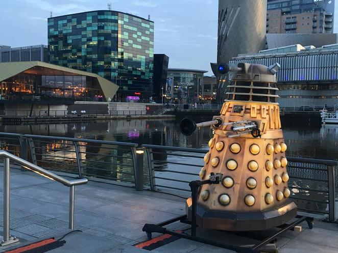 Lightwaves, mediacityuk, salford quays, manchester, free, art, exhibition, winter, family, salford, lightwaves 2018, christmas, family fun, doctor who, dalek