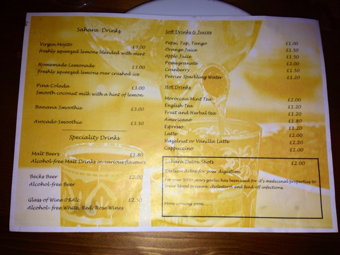 Sahara menu low alcohol zero alcohol restaurant
