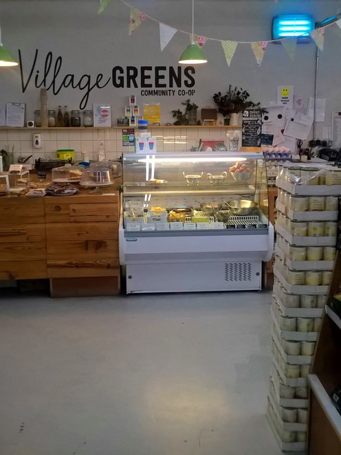 Village Greens, Store front, Deli Counter, Vegan, vegetarian, healthy food, Longfield Suite, Co op, Shop, Prestwich, Ethical store, supermarket, shop