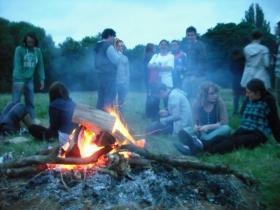 summer gathering, campfire, people & planet