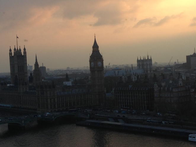 sunset over the Houses of Parliament