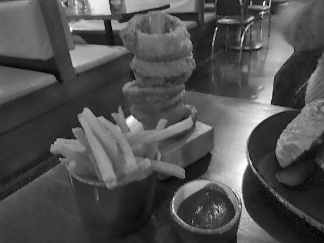 the exhibit, balham, diner, onion rings, fries